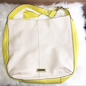 Coach Avery Canvas Hobo Chartreuse Leather Purse